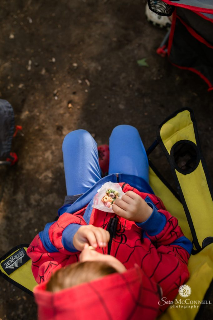 eating snacks while camping