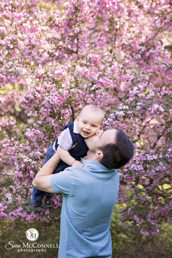 dad holding up a little boy in front of blossoming trees