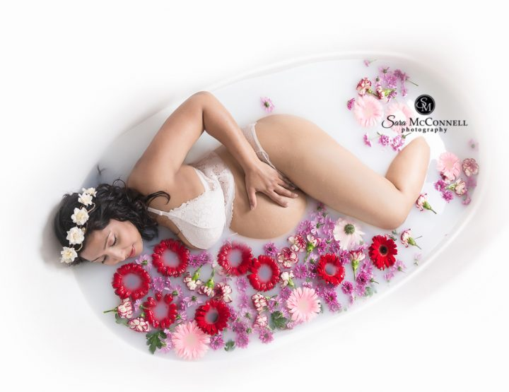 Ottawa Maternity Photographer | Milk Bath and Flowers