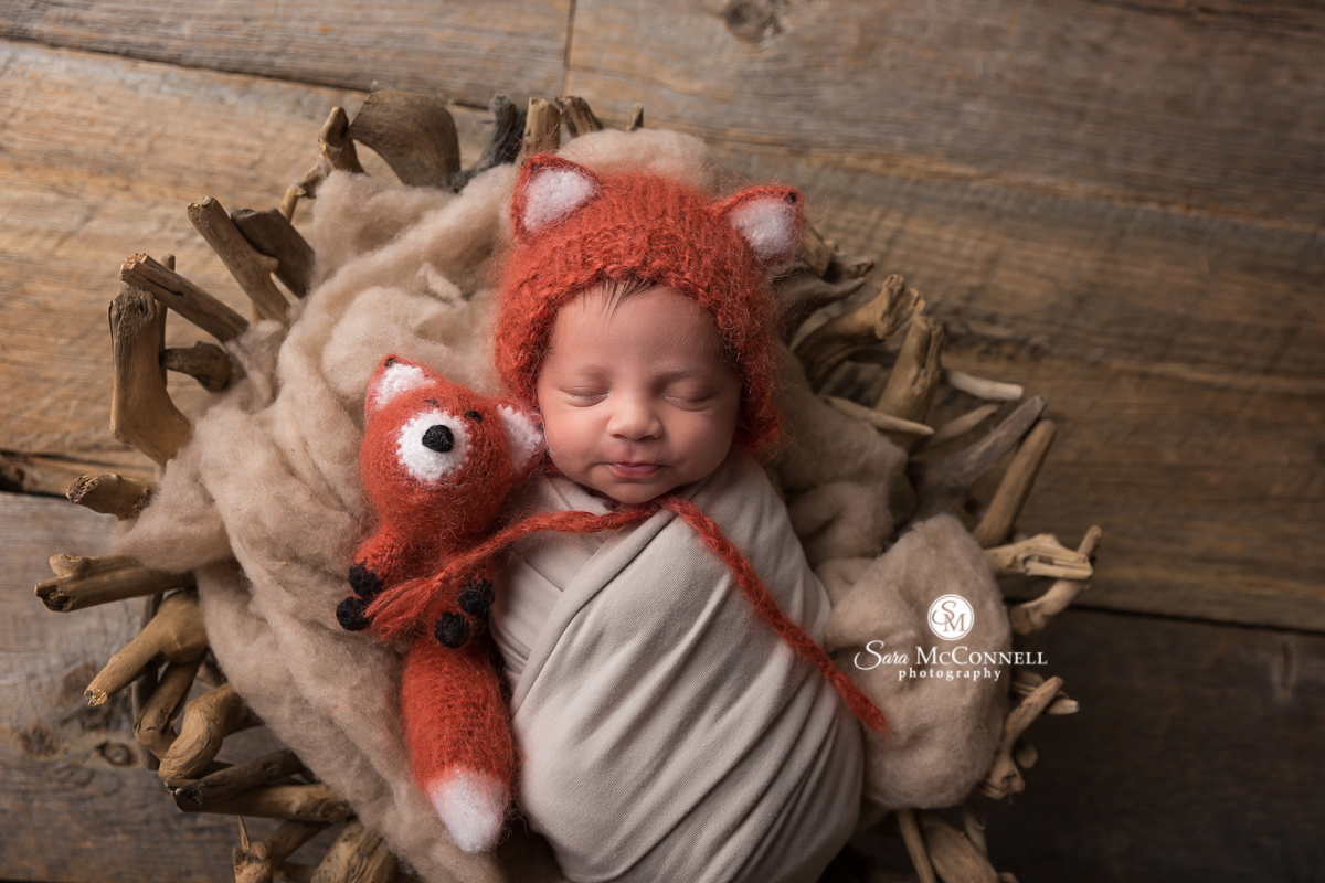 Ottawa Newborn Photo by Sara McConnell Photography - Newborn baby wearing a knitted fox hat