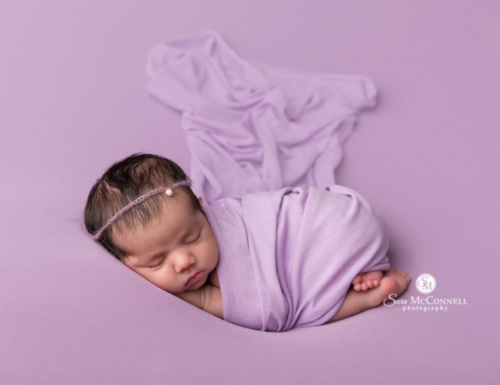 Ottawa Newborn Photographer | Purple wraps and backdrops