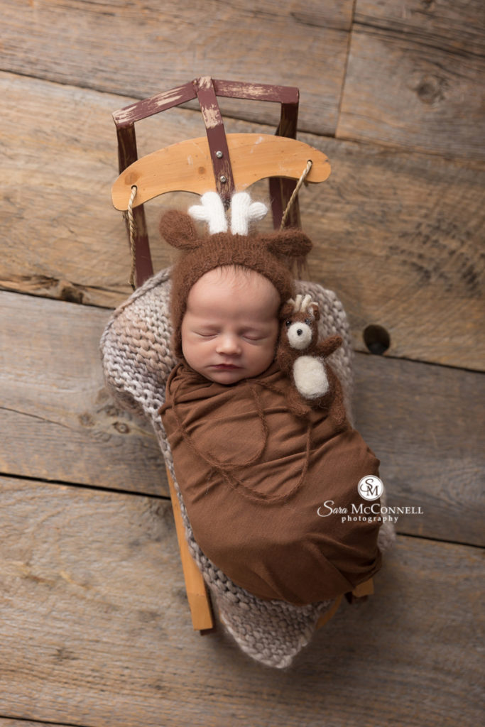 newborn baby wrapped in brown wearing a reindeer hat in a sled
