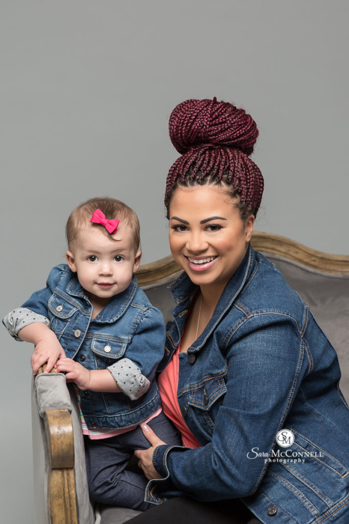 mother and daughter wearing jean jackets