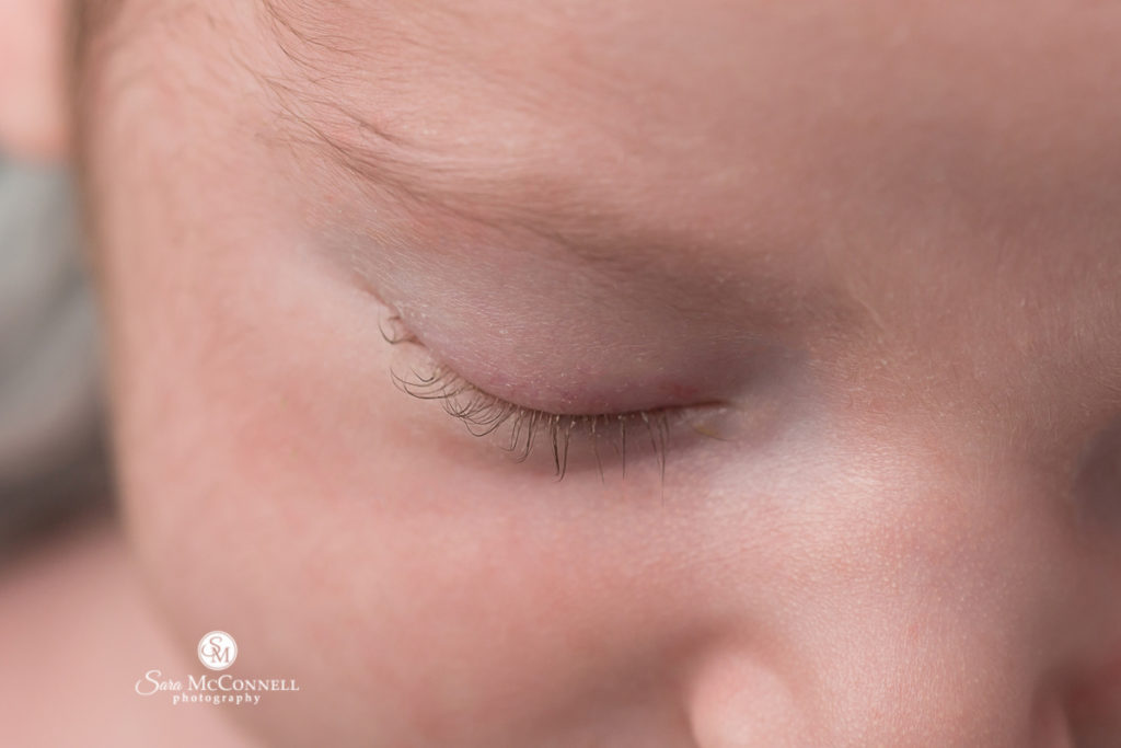 close up photo of newborn baby eye