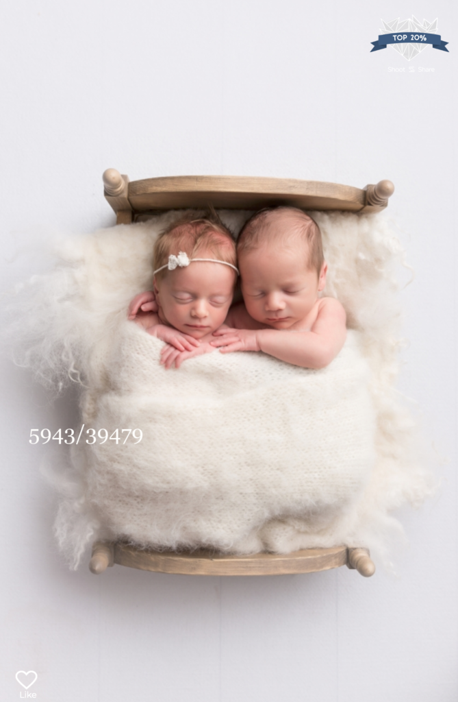 twin babies in a wooden bed by sara mcconnell photography