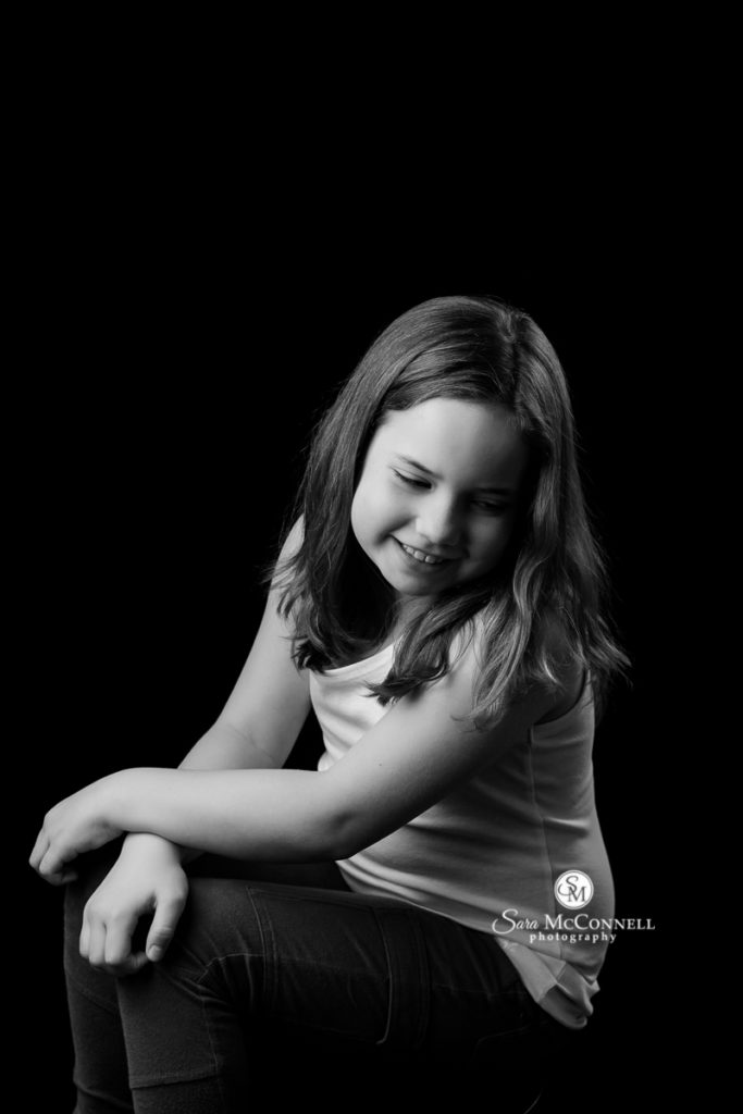 black and white photo of a young girl for extraordinary you youth photos with sara mcconnell photography