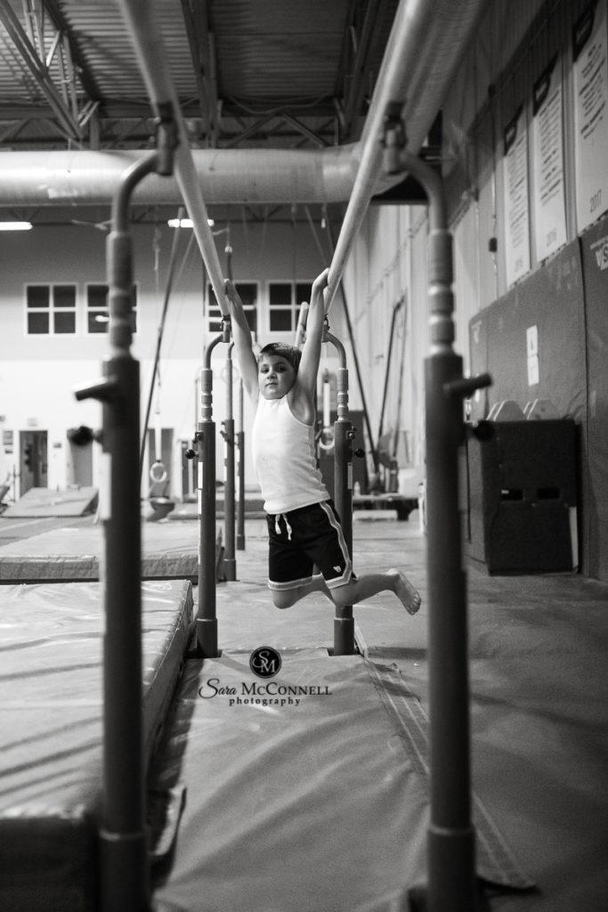young boy at a gymnastics centre