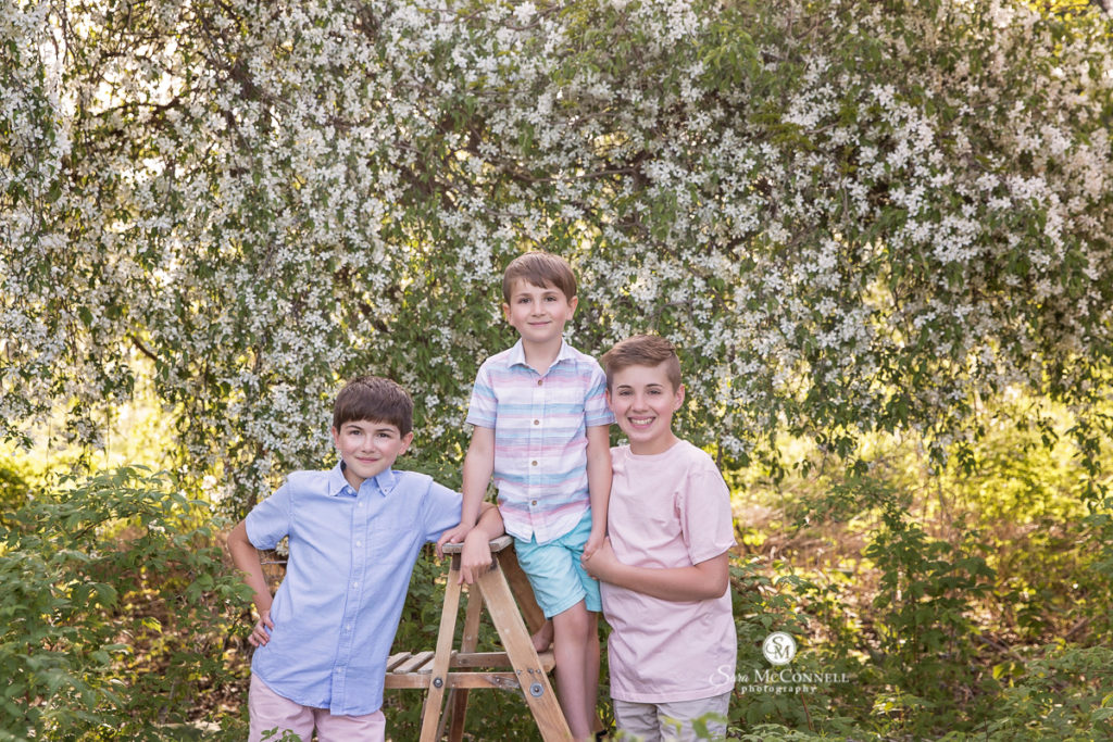 three brothers in front of blossoms