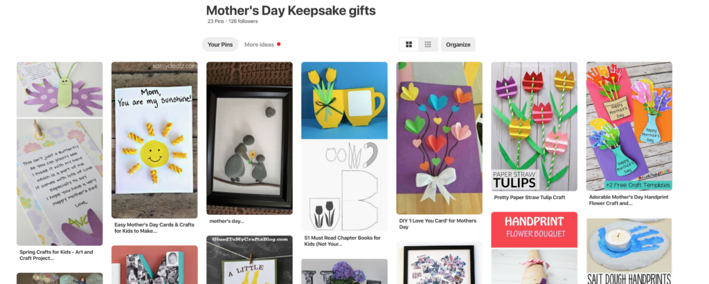 pinterest image with craft ideas for mother's day