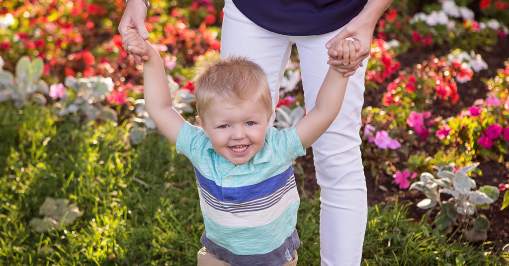 toddler being held by the hands in a garden