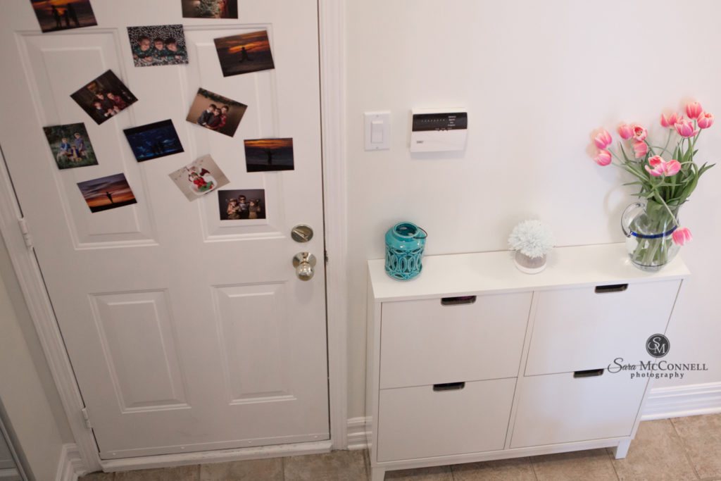 door covered with photos
