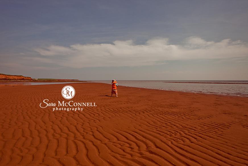 boy playing on pei beach