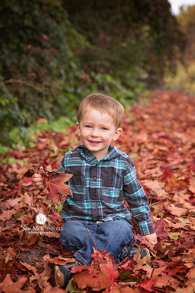 young boy sitting in red leaves