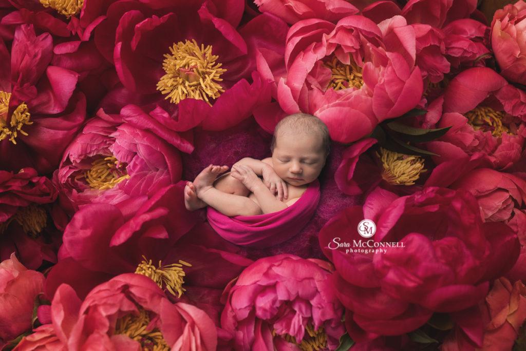 baby girl sleeping in flowers