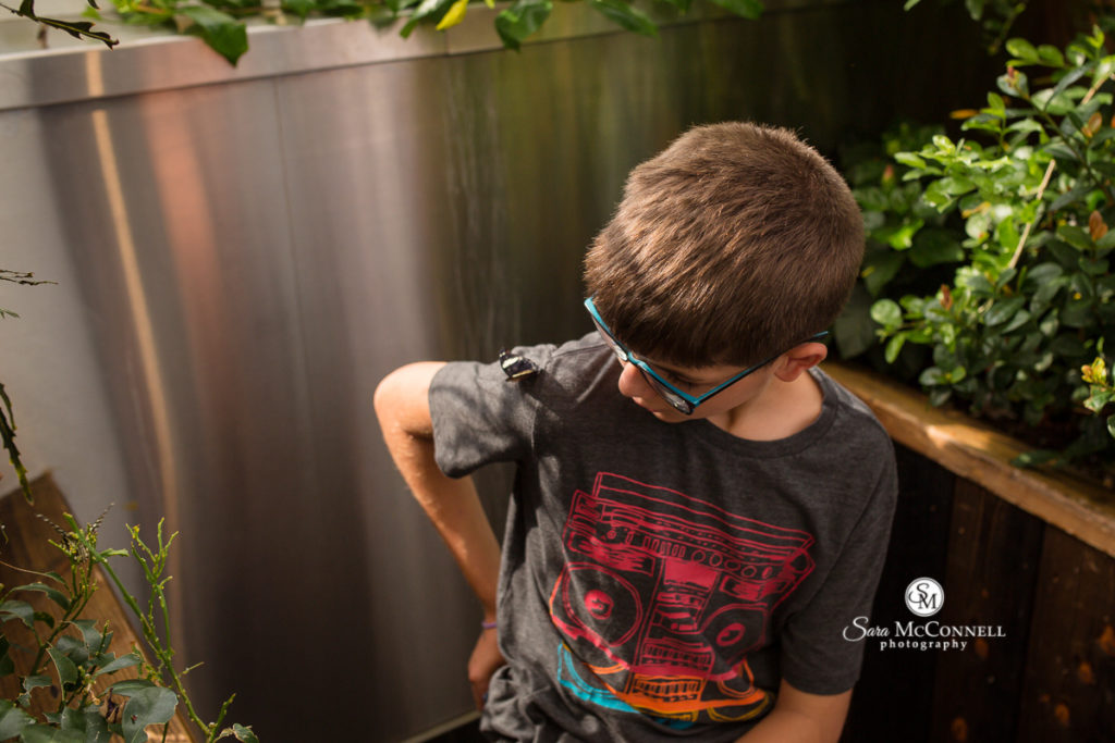 young boy at the museum of nature