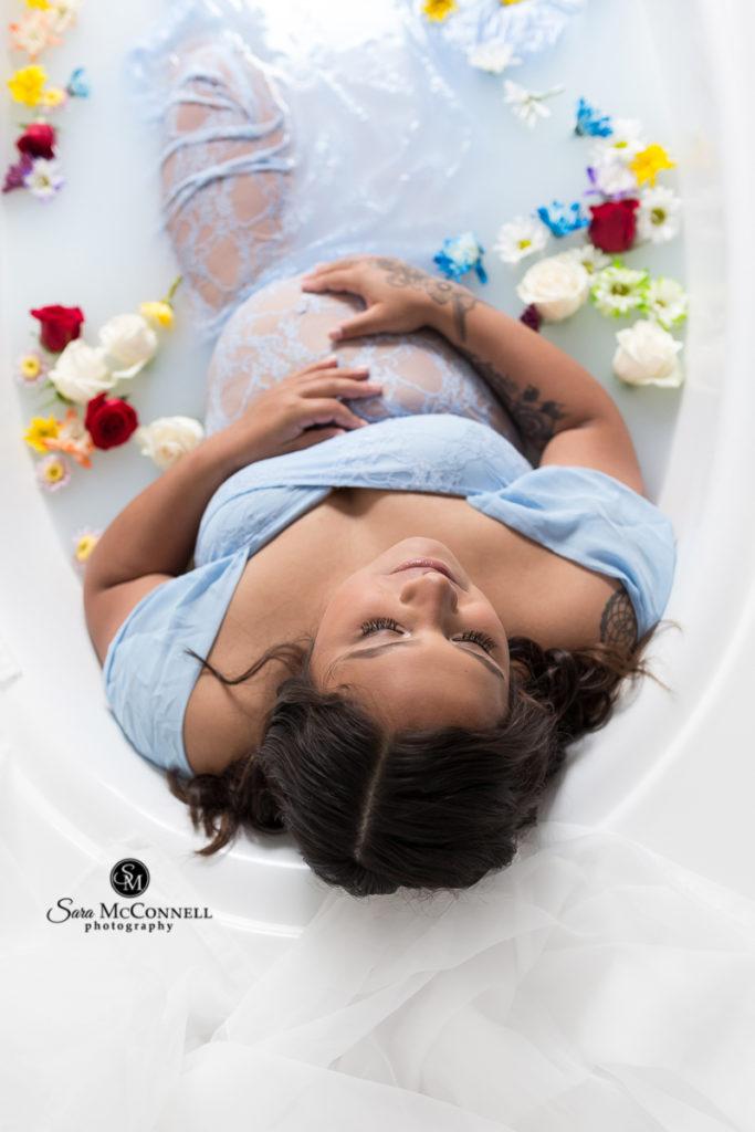 pregnant woman in milk bath