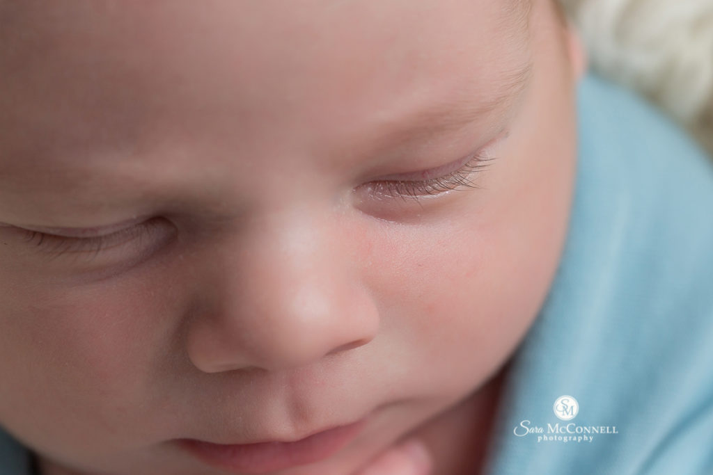 close up of a newborn baby's face