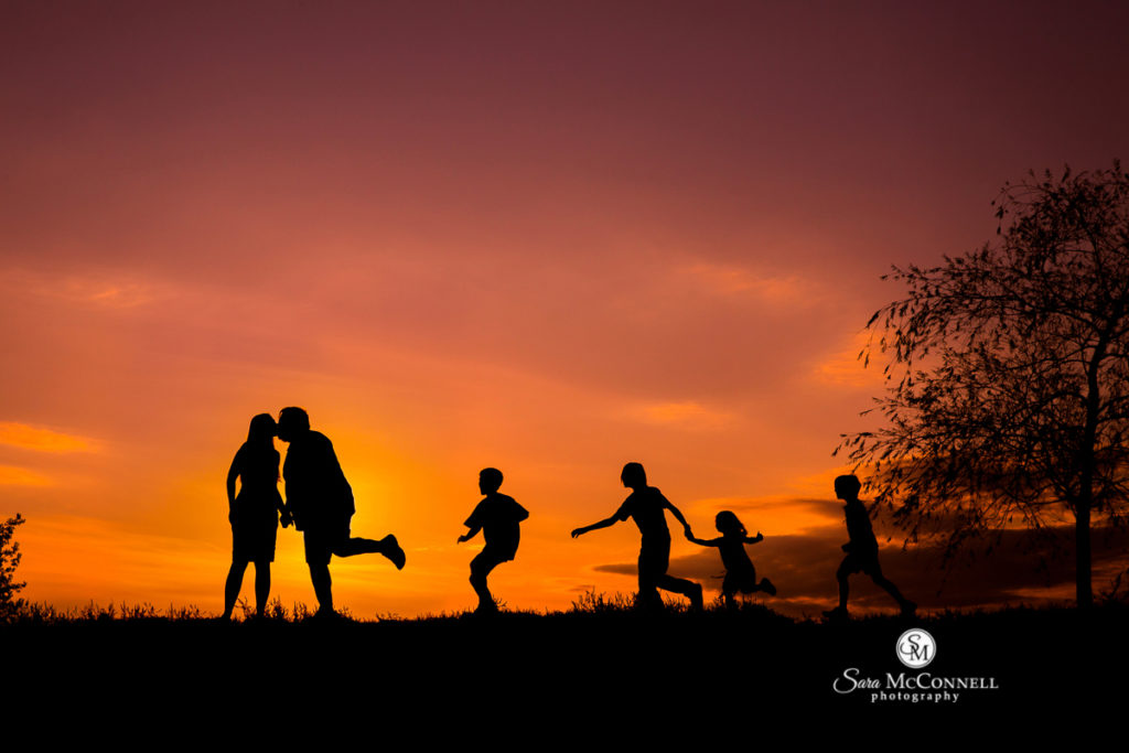 family photos as the sun sets
