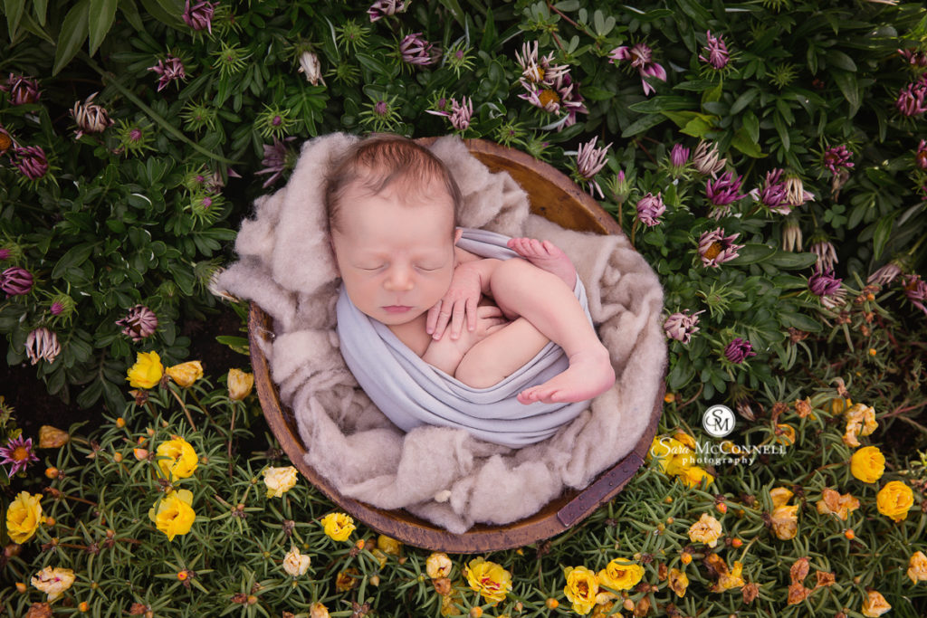 newborn baby sleeping in a wooden bowl with blankets outside