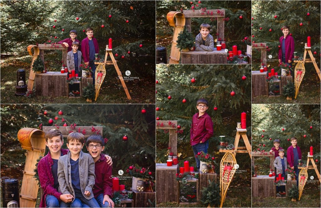 outdoor christmas photos with three boys