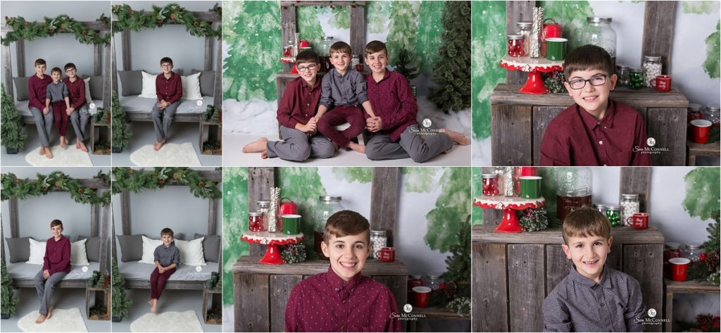 brothers in front of a christmas set