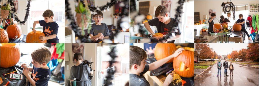 children carving pumpkins for halloween