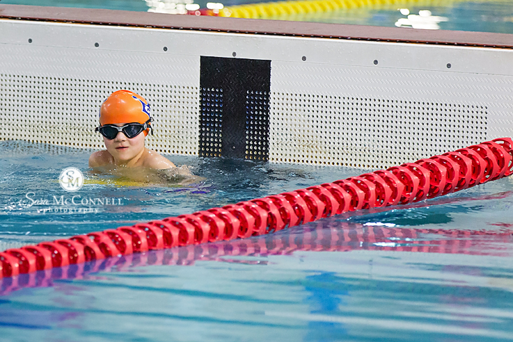 young child at a swim meet