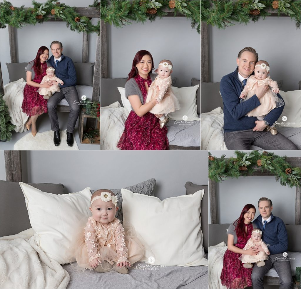 family holiday photos with christmas backdrop