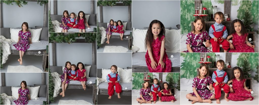 children sitting together for christmas photos