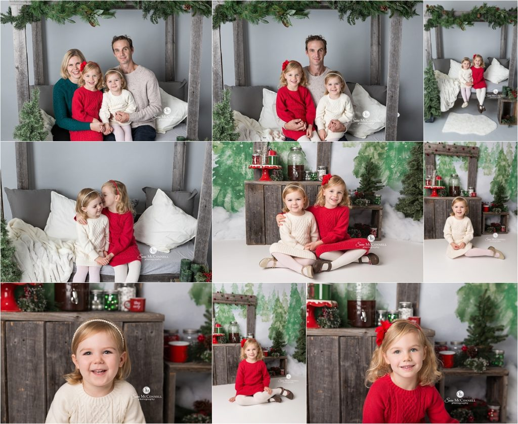 family smiling together for christmas photos
