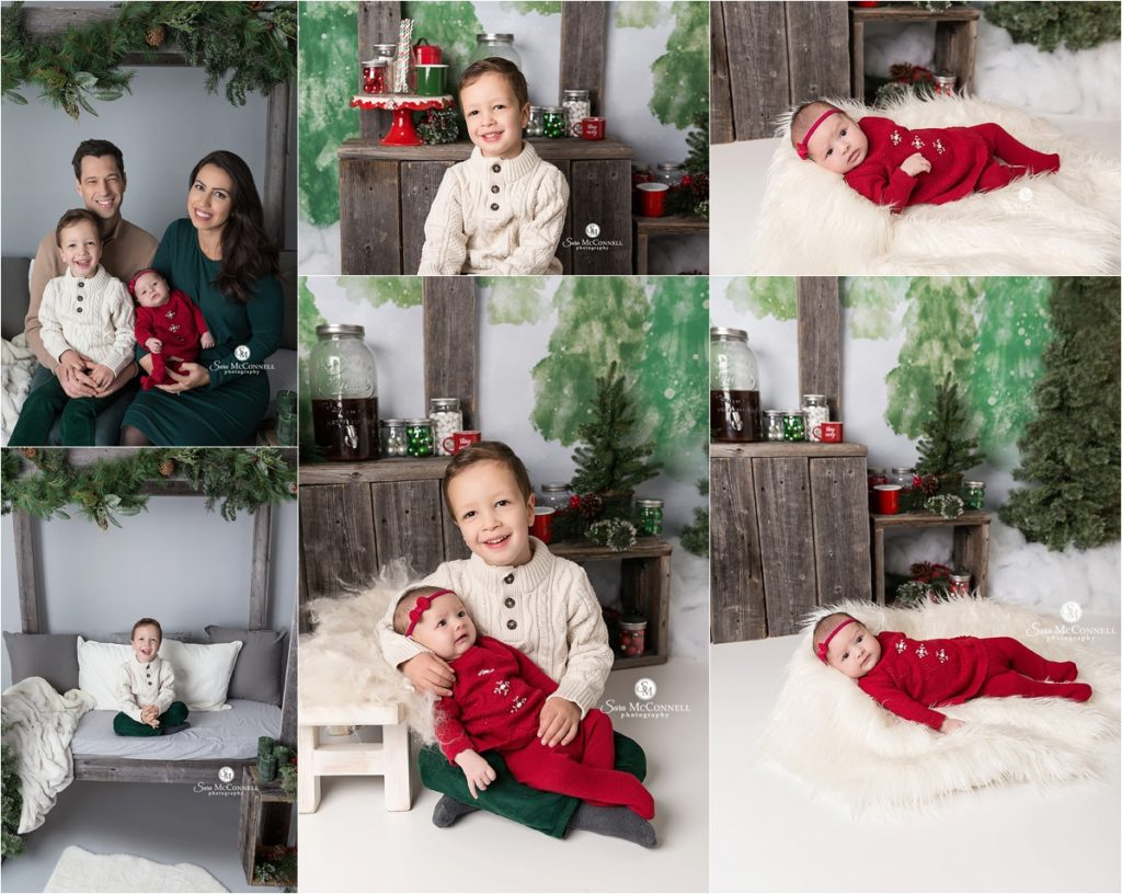 family sitting together for christmas photos