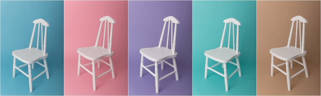 chairs against different photo backdrops