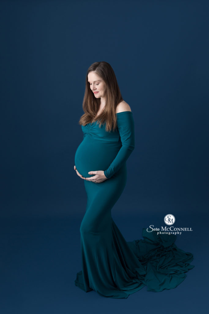 teal maternity gown