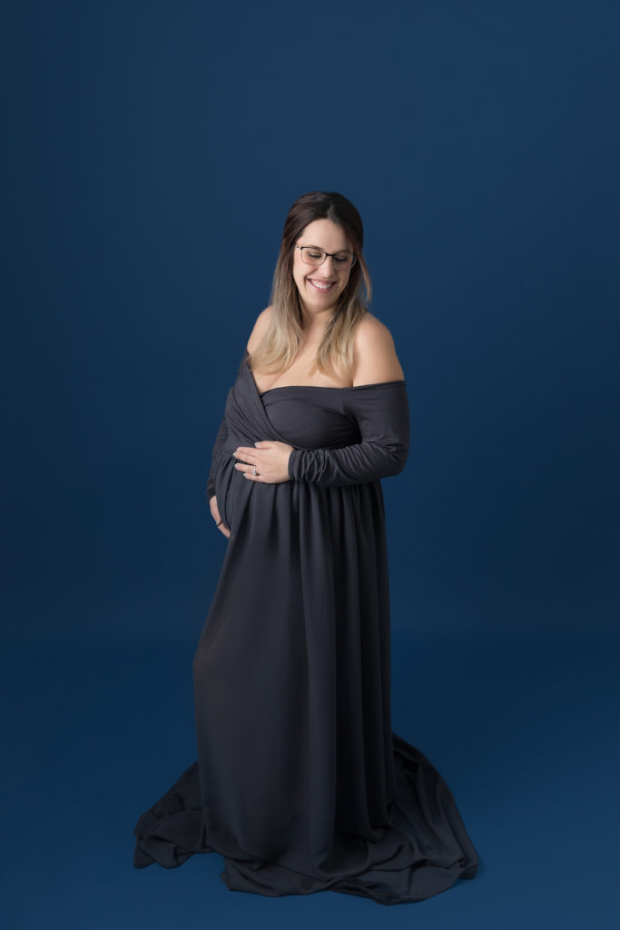 dark grey maternity gown