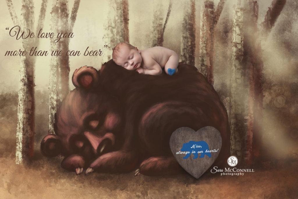 newborn baby on a bear