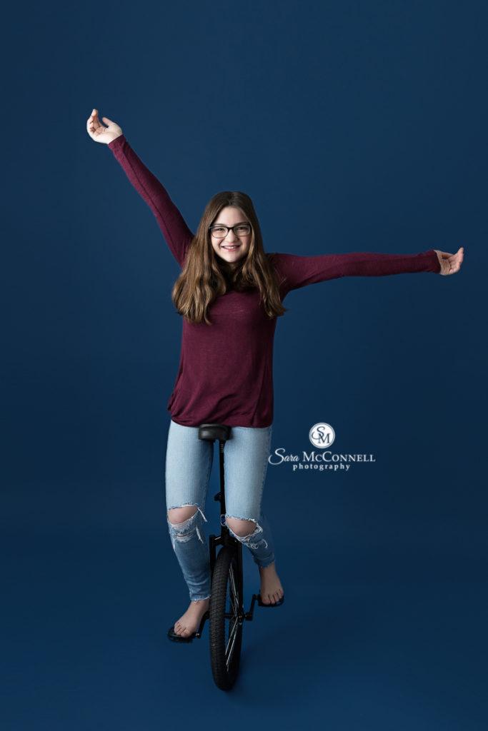 girl on a unicycle