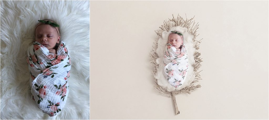 Two photos of newborn baby girl wrapped in swaddles