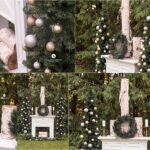 Photo collage of a fireplace holiday photography set