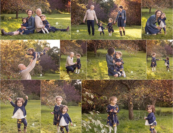 Playing under the apple trees | Ottawa Family Photos